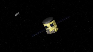 An artists impression of The Asteroid Mining Corporations concept mining probe as it approaches an asteroid.