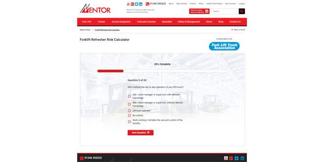 Mentor FLT Training to showcase Forklift Refresher Risk Calculator