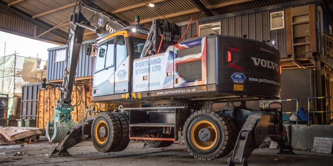 Volvo Construction Equipment new Material Handler arrives at Portland Stone from SMT GB