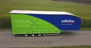CARTWRIGHT GROUP CUSTOMER ALAN R JONES ORDERS CURTAINSIDER WITH SPECIAL LIVERY PROMOTING PALLETLINE ENVIRONMENTAL MESSAGE