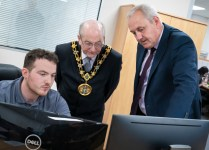 The mayor of Rochdale  Mr W Sheeran opening of new KP Industries premisis