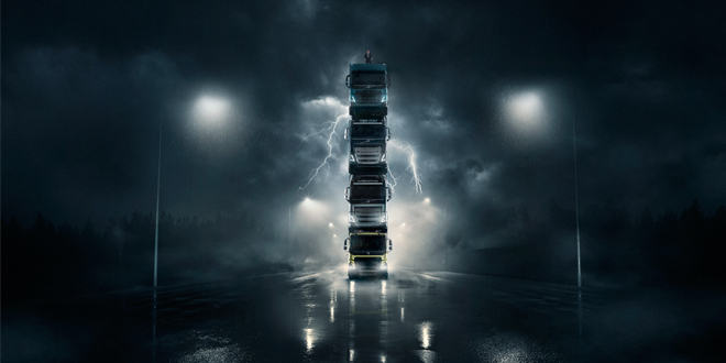 Volvo Trucks launches four new trucks by stacking them on top of each other in spectacular film – Complete with president on top