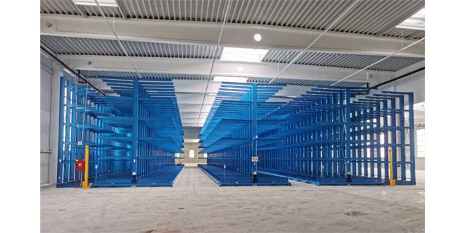 Mobile Cantilever Racking System for thyssenkrupp Materials Hungary