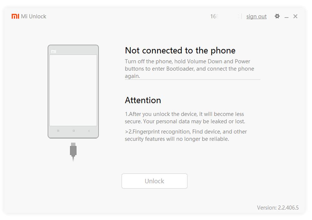 Mi flash desbloqueio-conectando o telefone