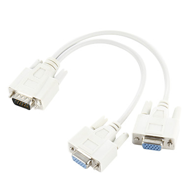 VGA SVGA 15 PIN Male to Dual 2 Female Monitor Adapter Y