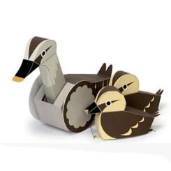 Papercraft imprimible y armable de patos con movimiento. Manualidades a Raudales.