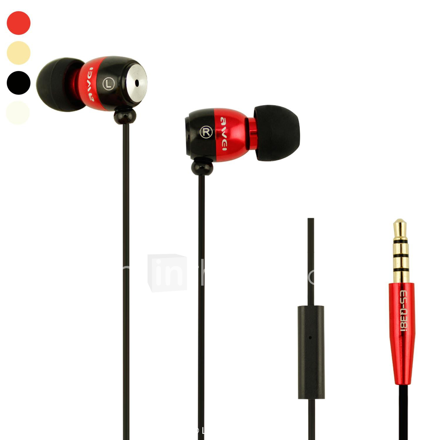 hight resolution of awei awei q8i in ear wired headphones aluminum alloy mobile phone earphone noise isolating with microphone headset 01395051