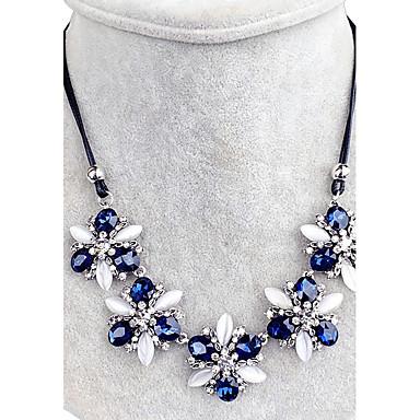 Damen Kristall  Strass Kragen  Strass Blume Blumen Stil Blumen Knigsblau Modische Halsketten