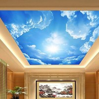 3D Shinny Leather Effect Large Lobby Ceiling Mural ...