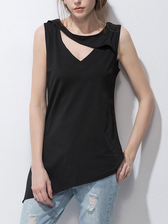 Fashionmia Summer Women Surplice Asymmetric Hem Plain Sleeveless T-Shirts