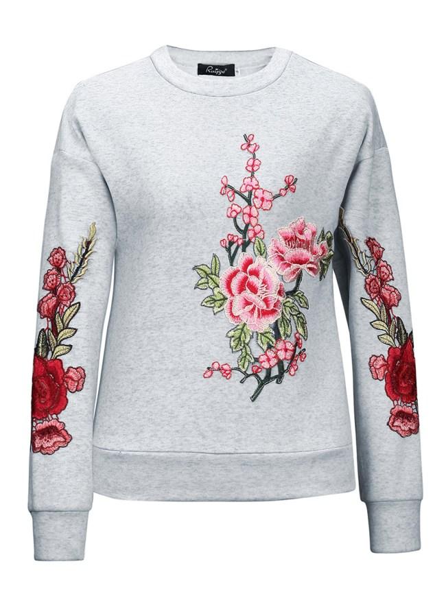 Fashionmia Floral Plain Long Sleeve Sweatshirts