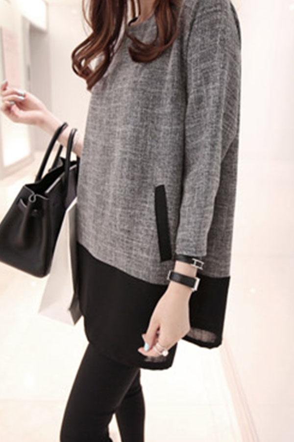Fashionmia Crew Neck Patchwork Color Block Long Sleeve T-Shirts