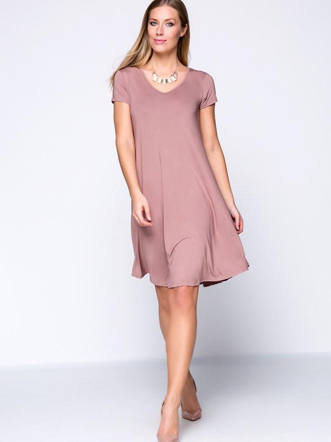Fashionmia Solid Color Basic V-Neck Plus Size Shift Dress