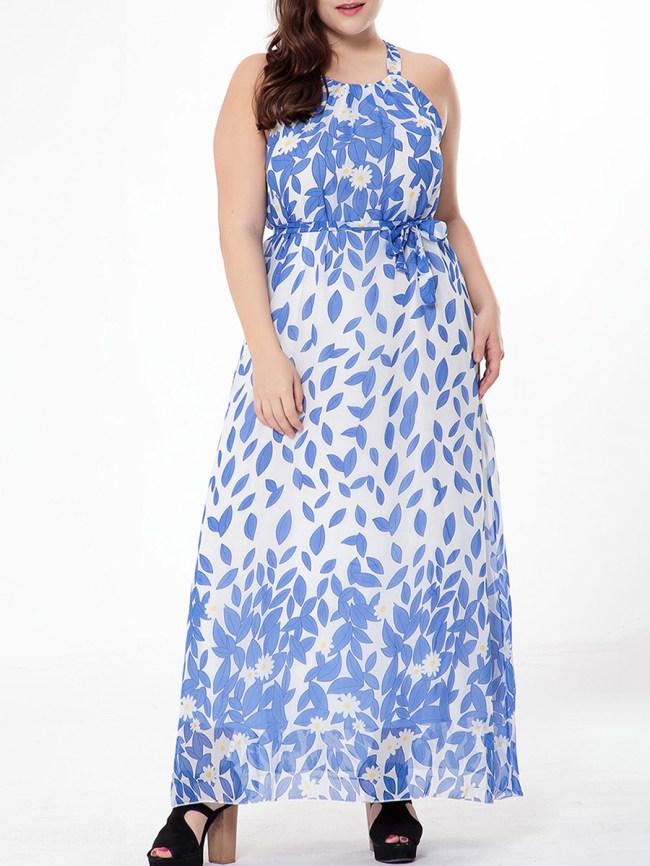 Fashionmia Absorbing Spaghetti Strap Printed Chiffonplus Size Maxi Dress