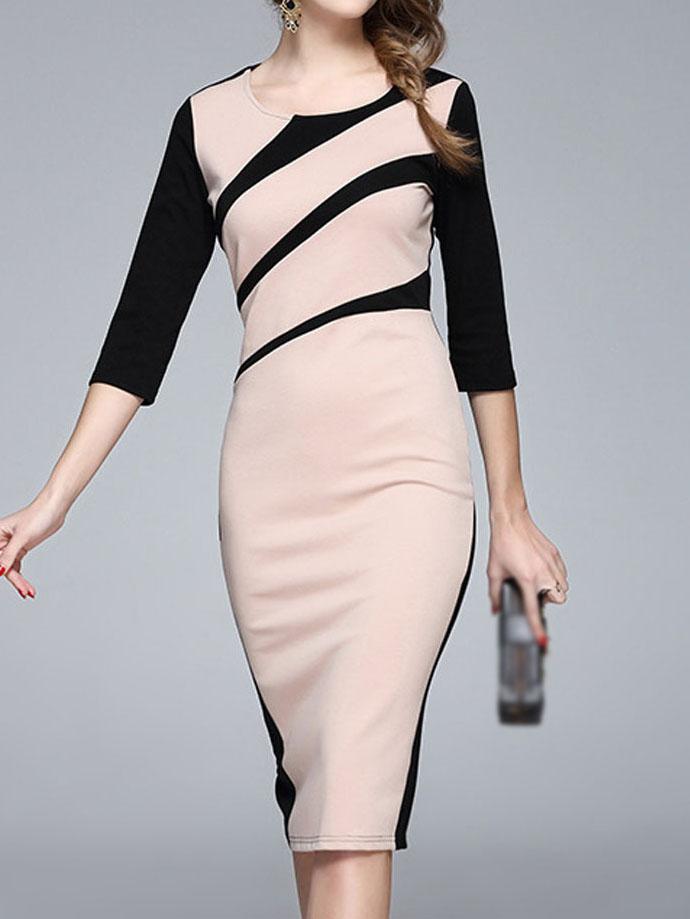 Round Neck  Colouring Bodycon Dress