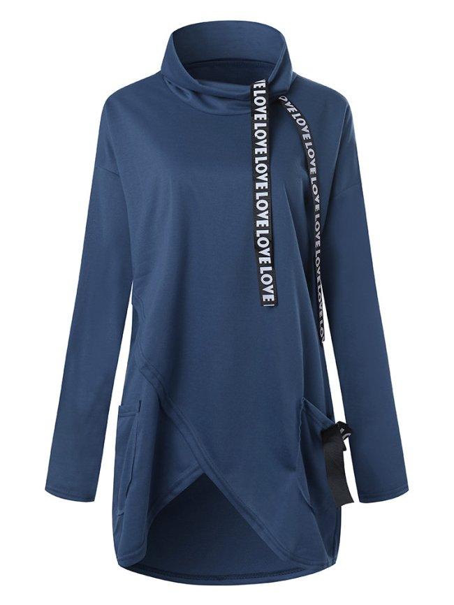 Fashionmia Cowl Neck Letters Plain Long Sleeve Sweatshirts