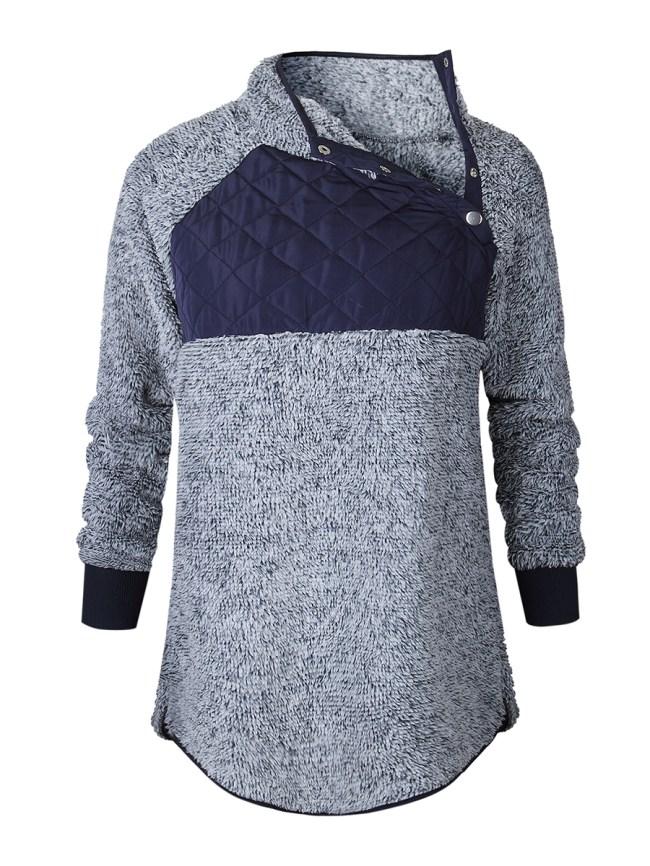 Fashionmia Raglan Sleeve Long Sleeve Stitching Hoodie