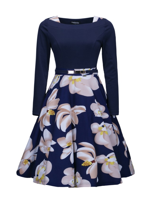 Fashionmia Floral Printed Chic Plus Size Flared Dress