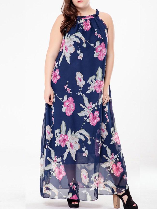 Fashionmia Round Neck Floral Hollow Out Chiffon Plus Size Maxi Dress