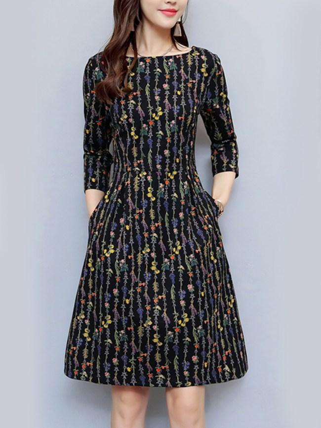 Fashionmia Round Neck Floral Printed Pocket Skater Dress