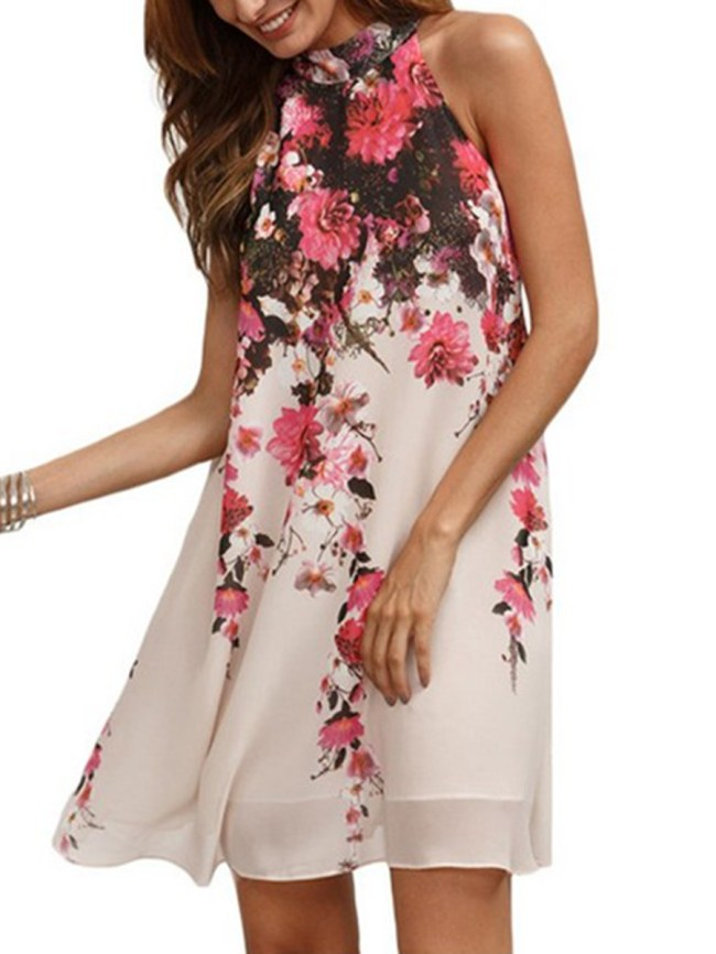 Fashionmia Open Shoulder Floral Hollow Out Printed Exquisite Shift Dress