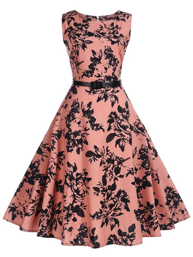 Fashionmia Attractive Round Neck Belt Printed Skater Dress