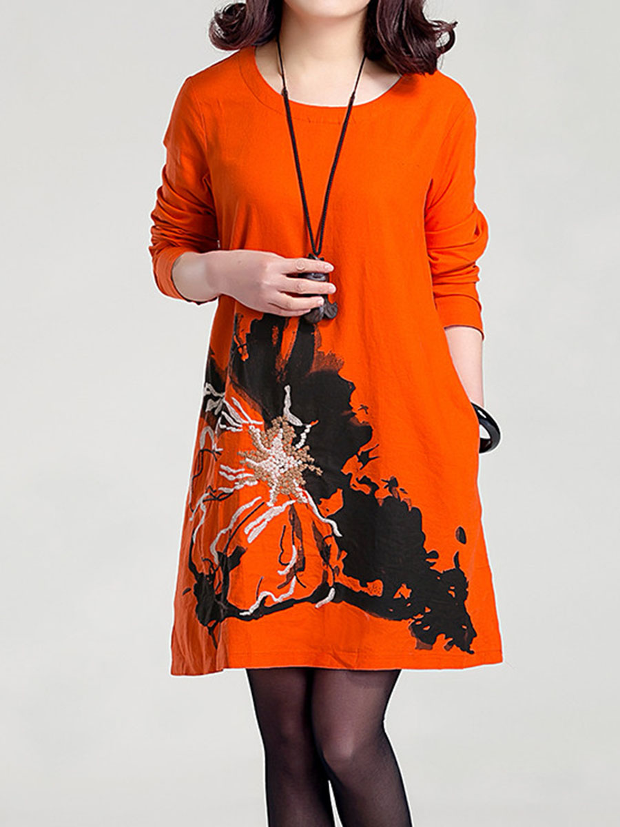 Fashionmia Round Neck Pocket Embroidery Printed Shift Dress ...