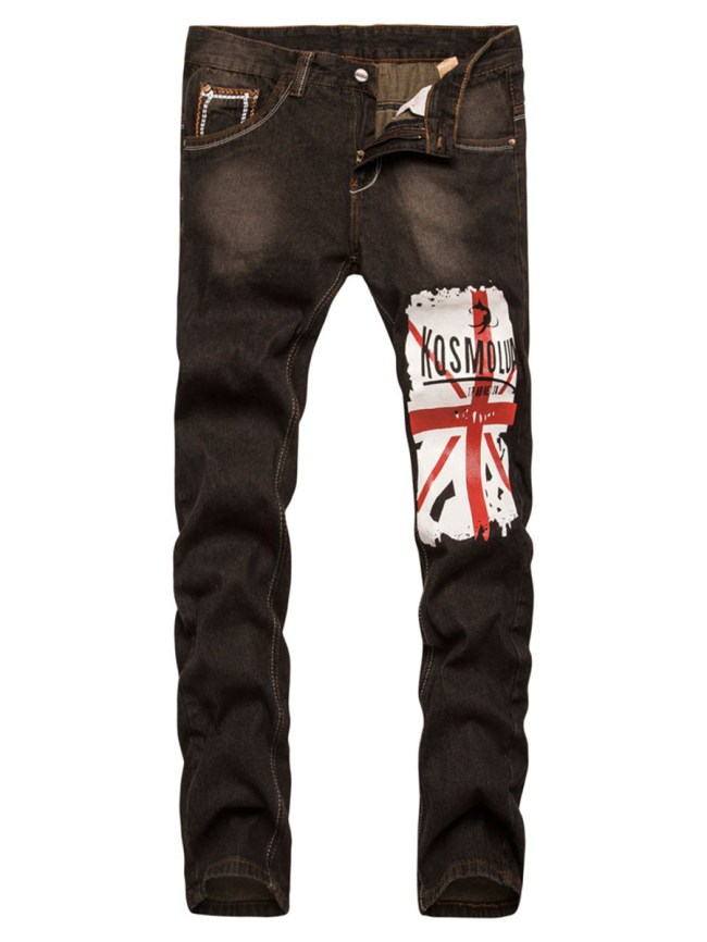 Fashionmia Trendy Flag Printed Straight Men's Jeans