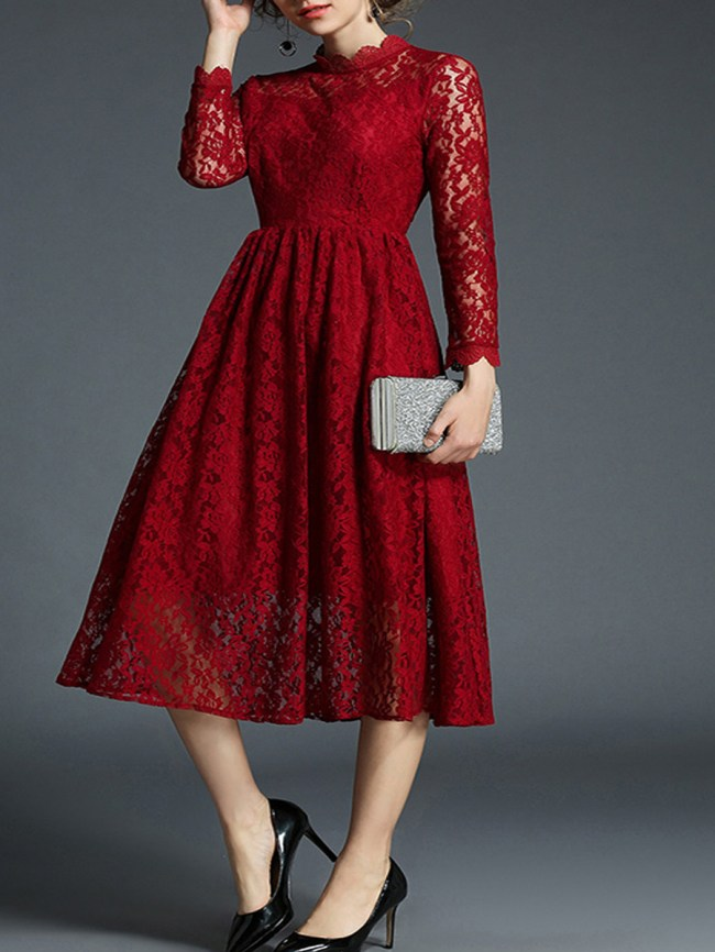 Fashionmia Round Neck Plain Lace Dresses