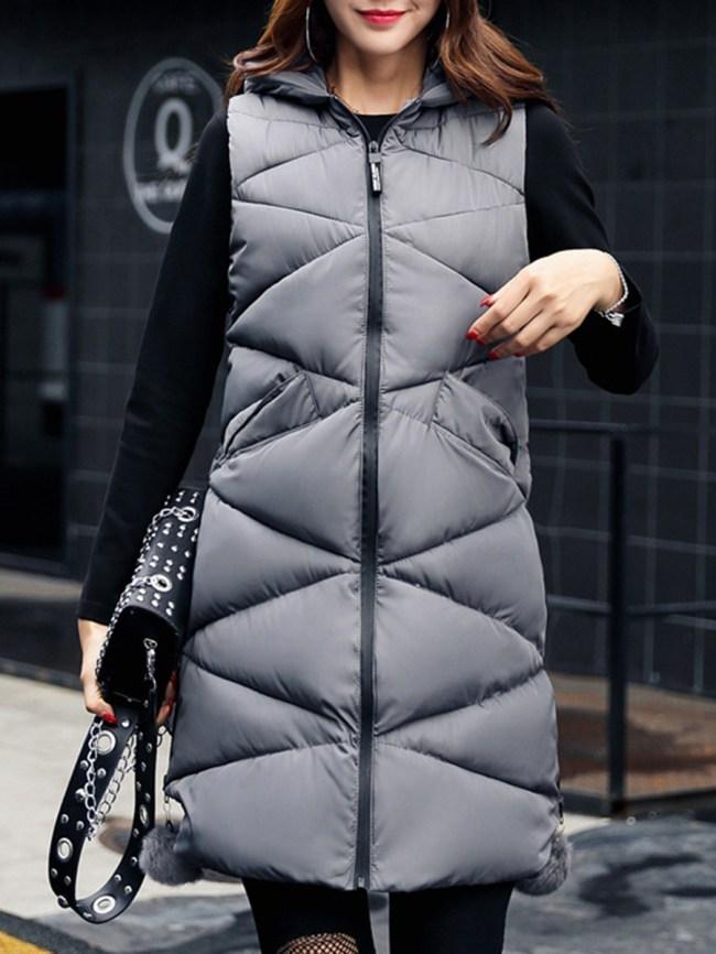 Fashionmia Ruffled Hem Zips Plain Waistcoat