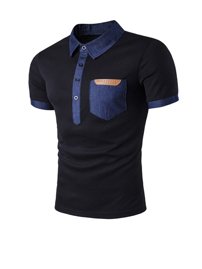 Fashionmia Contrast Trim Patch Pocket Polo Collar T-Shirt
