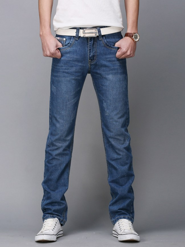 Fashionmia Contrast Trim Ripped Light Wash Straight Men's Jeans