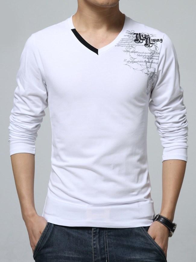 Fashionmia V-Neck Letters Printed Men Long Sleeve T-Shirt