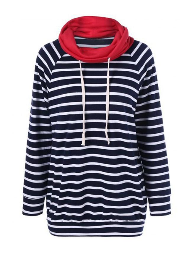 Fashionmia Cowl Neck Striped Long Sleeve Sweatshirts