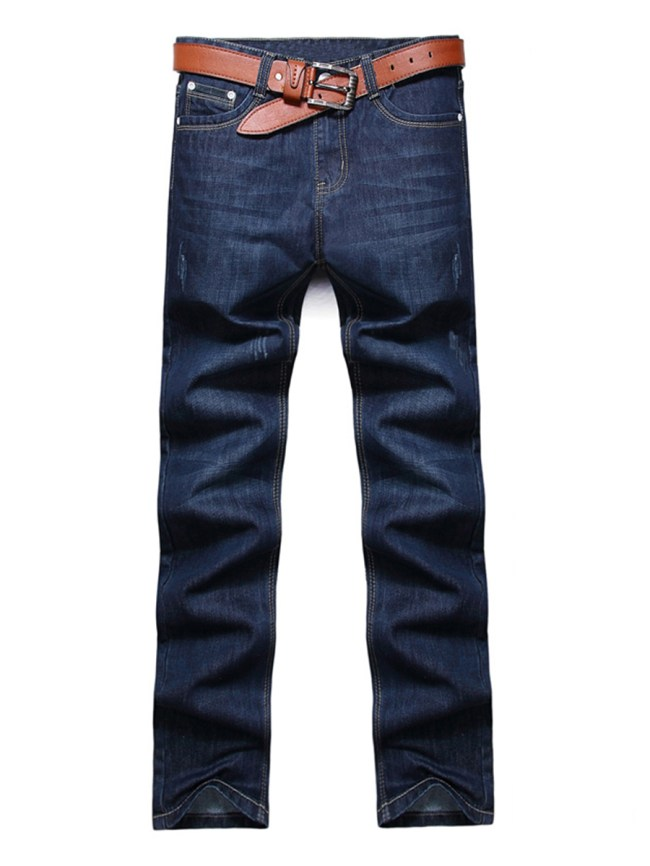 Fashionmia Fitted Contrast Trim Ripped Straight Men's Jeans