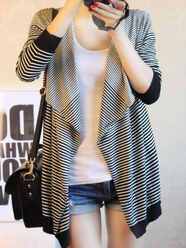 Fashionmia V-Neck Striped Long Sleeve Cardigans