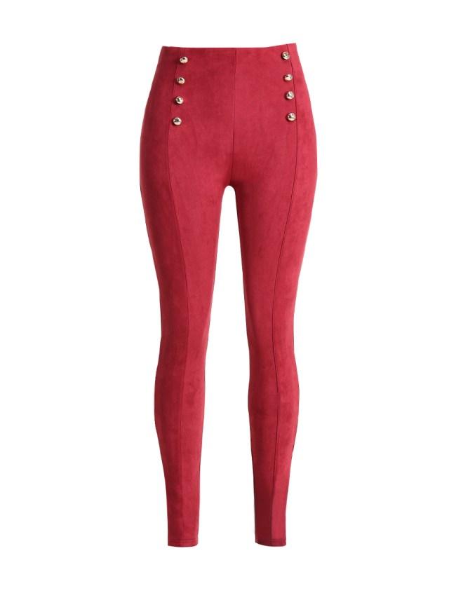 Fashionmia Double Breasted Plain Mid-Rise Leggings