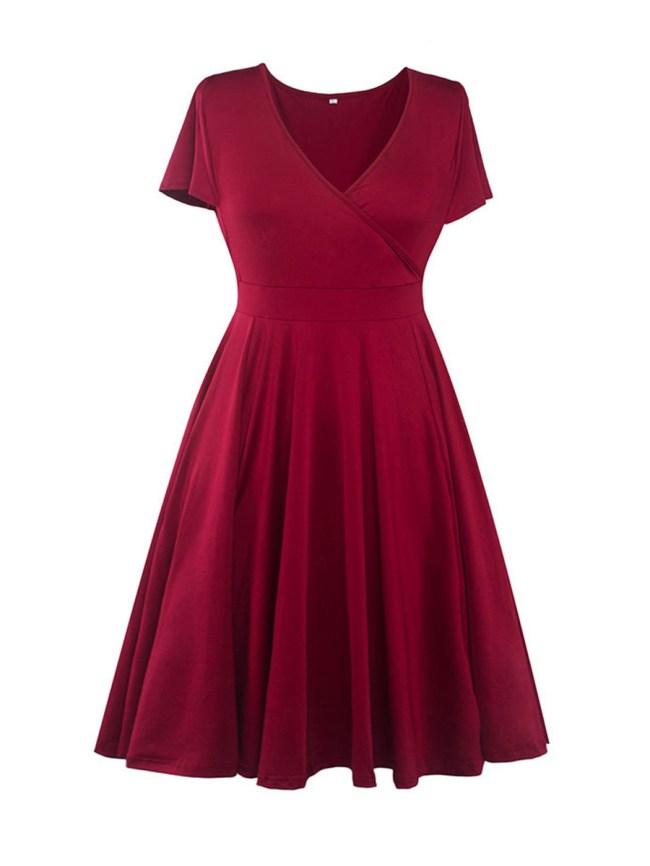 Fashionmia Basic Surplice Bowknot Plain Plus Size Flared Dress