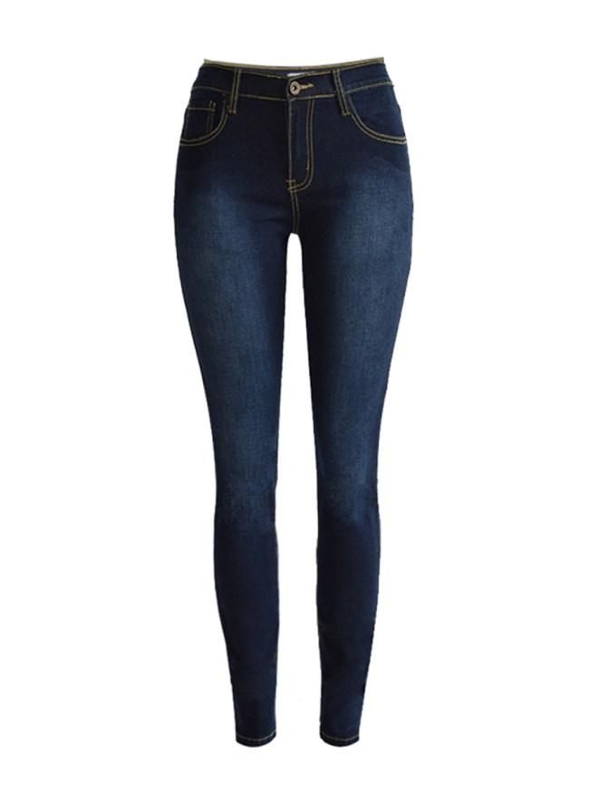 Fashionmia Basic Light Wash Patch Pocket Slim-Leg Mid-Rise Jean