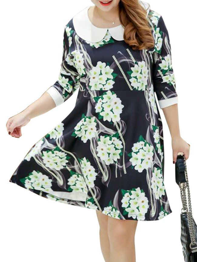 Fashionmia Doll Collar Floral Printed Plus Size Flared Dress
