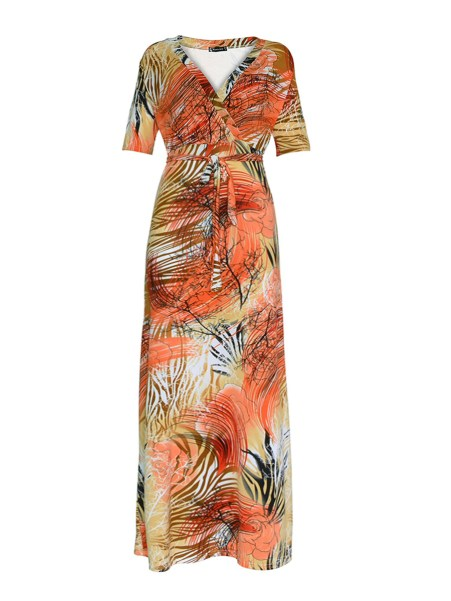 Fashionmia V-Neck  Belt  Abstract Print Plus Size Midi & Maxi Dresses
