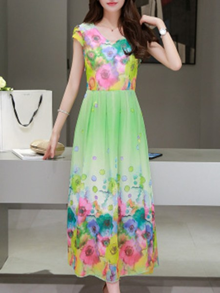 Fashionmia Round Neck  Printed Maxi Dress