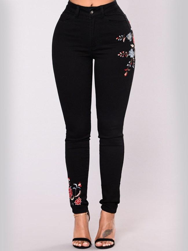 Fashionmia Embroidery Patch Pocket Slim-Leg Jeans