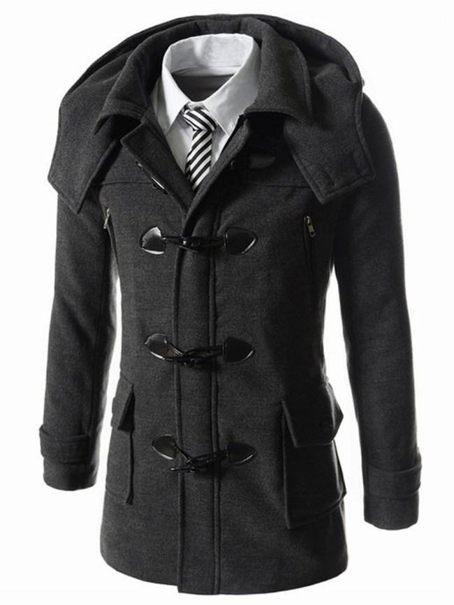 Fashionmia Men Hooded Flap Pocket Vented Plain Woolen Coat