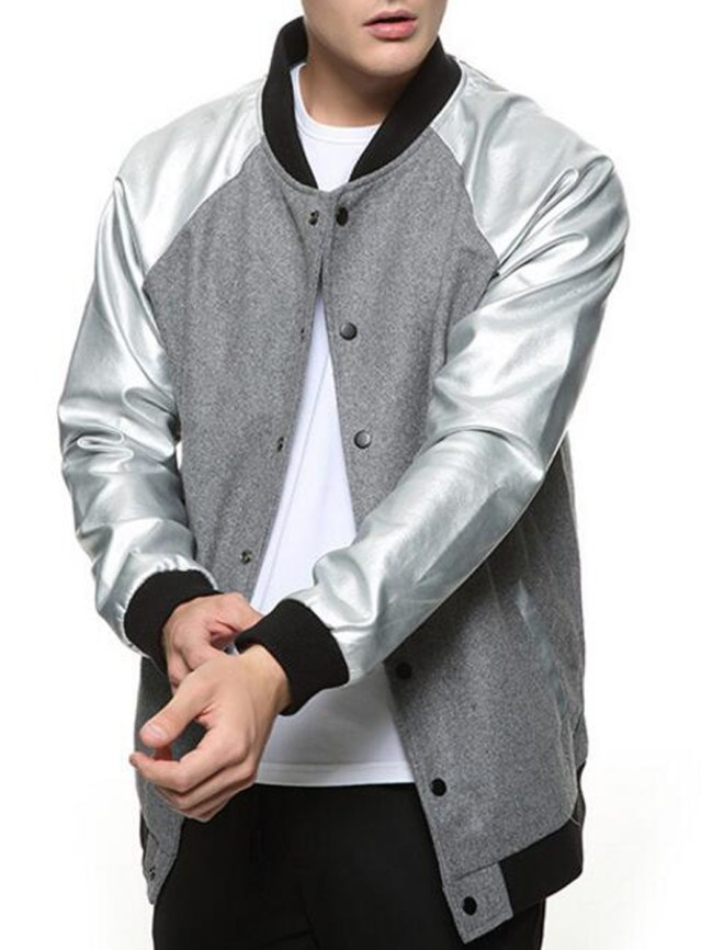 Fashionmia Men Band Collar Pocket Raglan Sleeve Bomber Jacket