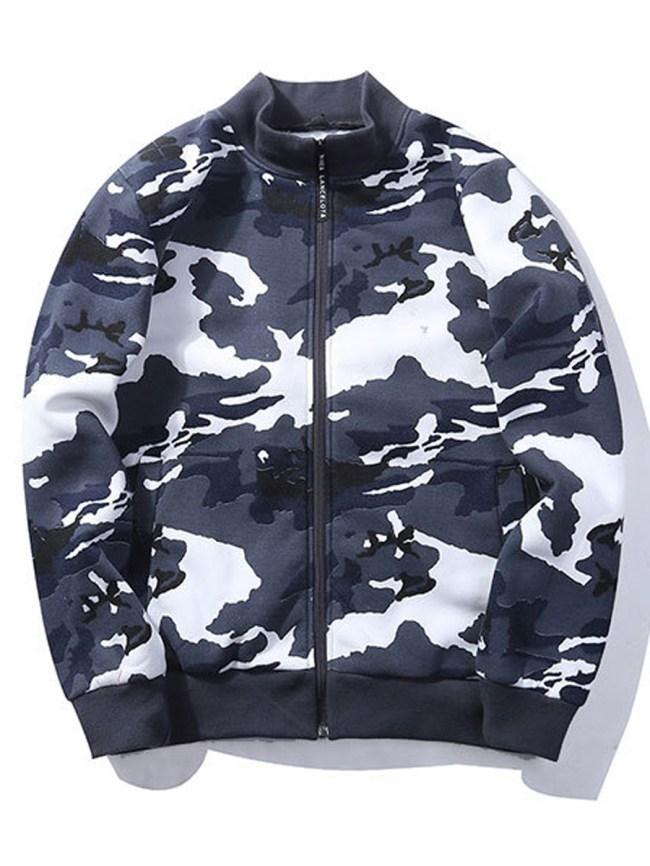 Fashionmia Band Collar Camouflage Fleece Lined Men Bomber Jacket