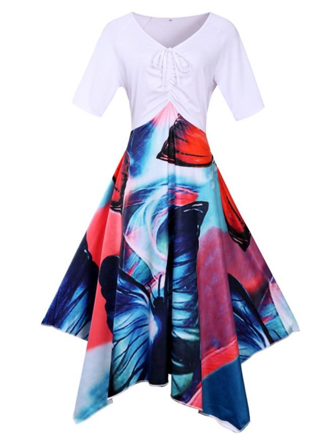 Fashionmia V-Neck Asymmetric Hem Printed Plus Size Flared Dress