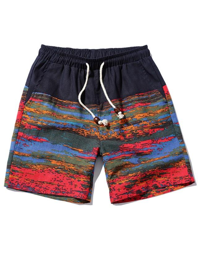 Fashionmia Elastic Waist Printed Straight Men's Shorts