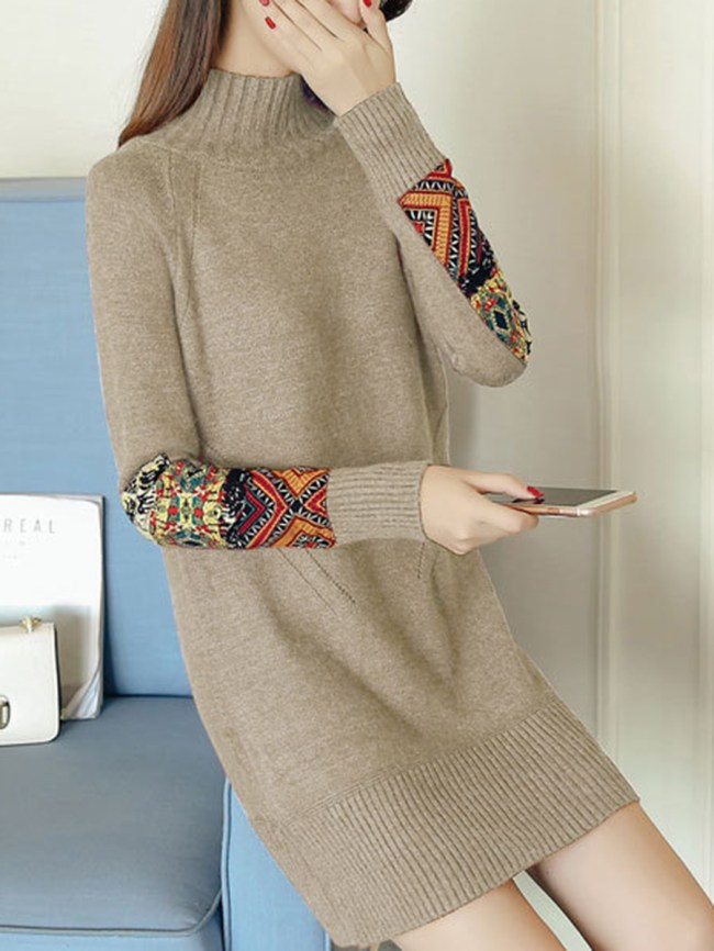 Fashionmia High Neck Decorative Printed Patch Knitted Dress