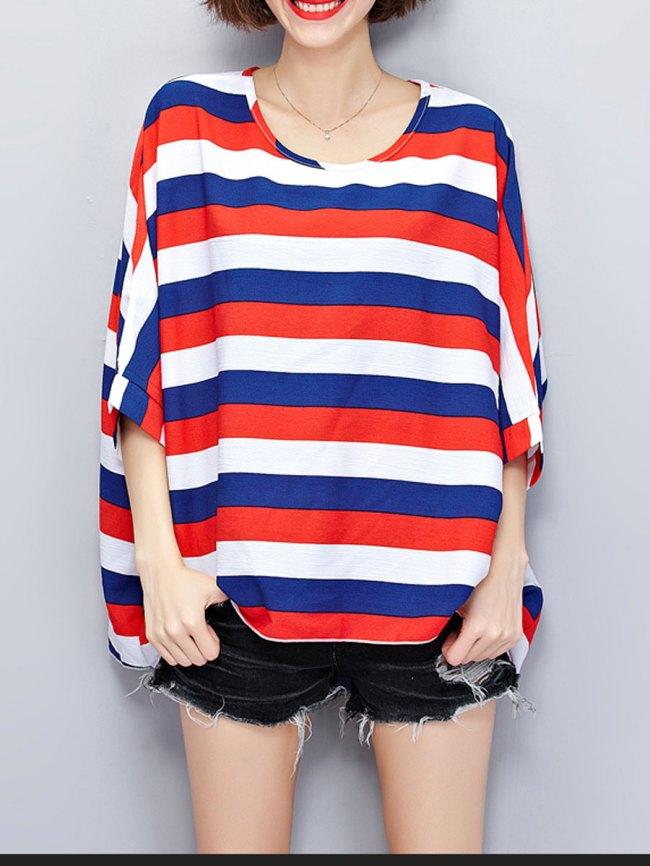 Fashionmia Round Neck Asymmetric Hem Striped Batwing Sleeve Short Sleeve T-Shirts